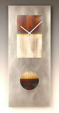 Steel and Nickel 24 Pendulum Clock: Leonie Lacouette: Metal Clock - Artful Home