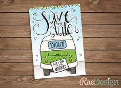 Printable Campervan Save the Date Template by RaeDesignStationery