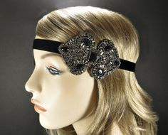 Gunmetal Art Deco Headpiece on Black Ribbon Headband, Flapper 1920s Hair Accessories, Great Gatsby Costume Party Beaded Fascinator