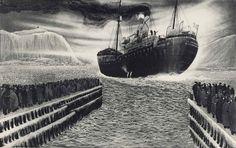 Black Ice: David Blackwood Prints of Newfoundland Newfoundland Canada, Newfoundland And Labrador, Local Artists, Great Artists, Art Gallery Of Ontario, Canada Images, Life Aquatic, Like Image, Canadian Artists