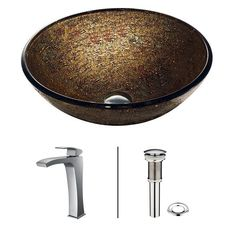 Vigo Textured Vessel Sink in Copper with Edged Faucet in Chrome-VGT139 - The Home Depot