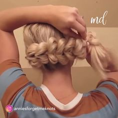 Give thanks for this gorgeous hair! Pull through Braid❤️❤️❤️. We love this absolutely stunning bun hair tutorial Tangled Thursday-French Braid Half up Bun My easy go to hair for the gym, beach or running errands. Link in bio wedding hair style…. Pretty Hairstyles, Braided Hairstyles, Wedding Hairstyles, Front Hair Styles, Curly Hair Styles, Hair Donut Styles, Hair Front, Hair Upstyles, Pull Through Braid