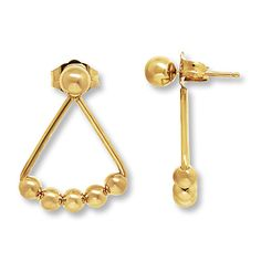 Show your style savvy with these trendy yellow gold front-back earrings