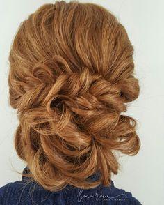 Red head wedding updo. Fishtail braided upstyle. Low, romantic bun❤  @danaraiabridal  www.danaraiabridal.com