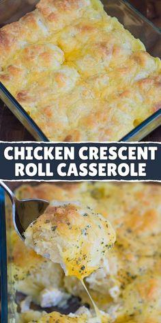 Easy Casserole Recipes, Best Chicken Casserole, Casserole Dishes, Rolled Chicken Recipes, Dinner Rolls Recipe, Recipes Dinner, Chicken Crescent Rolls, Crescent Roll Recipes, Cream Cheese Chicken
