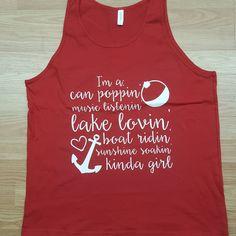 Items similar to Lake Loving Tank Top. on Etsy Cute Shirt Sayings, Shirts With Sayings, Cute Shirts, Lake Quotes, Beach Quotes, Lake Party, Lake Decor, T Shirt Image, Summer Tank Tops