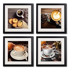 Coffee Framed Wall Art Decor Posters And Prints Modern Still Life Kitchen Artwork Painting Printed On Canvas 4 Piece Black Frame White Matte Coffee Beans For Cafe Decorations Pictures -- Visit the image link more details. Note:It is affiliate link to Amazon. #commentbelow