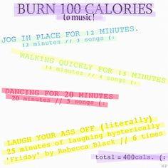 burn 100 calories to music!