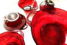 1930's 9 Pc Ruby Red Glass Bowls 1 Serving 8 Berry by JewelActs
