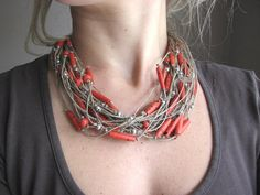 Necklace | GreyHeartOfStone Designs. Linen and red glass beads