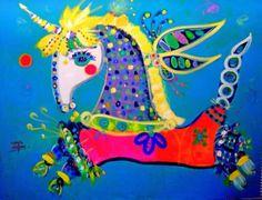 Unicornio En Azul