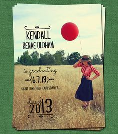 Graduation Custom Announcement, DIY Printable Personalized High School or College Commencement Card via Etsy