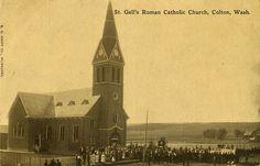 St. Gall's Roman Catholic Church, circa 1913 - Colton, Washington by Shook Photos, via Flickr God Bless America, Roman Catholic, Kirchen, Washington, Roots, Spaces, Travel, Catholic, Viajes