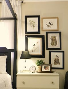 Love the picture collage above the side table.