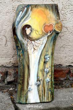 Anioły Bliskości Naszych Serc - I like the way this artist paints on wood, incorporating the grain and texture into the art. Wood Painting Art, Artist Painting, Artist Art, Wood Art, Angel Artwork, Butterfly Painting, Winter Art, Painting Inspiration, Art Pictures