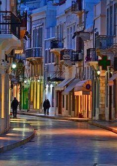 A Late Evening Walk in Ermoupoli, Syros Island, Greece