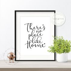 Theres No Place Like Home, Printable Wall Art Quote, Modern Black Typography, Digital Print PDF Jpeg, Housewarming, Contemporary Home Decor.  This printable wall art is a modern typographic piece that will suit any home decor, as well as giving a happy message that there really is no place like home ♡  This listing is for an Instant Digital Download. Printing your own artwork is an affordable, quick & easy way to refresh your living space, or give as a unique gift to a friend. After purch...