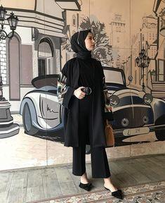 Modest Fashion Hijab, Modern Hijab Fashion, Casual Hijab Outfit, Hijab Fashion Inspiration, Hijab Chic, Muslim Fashion, Fashion Outfits, Ootd Hijab, Black Hijab