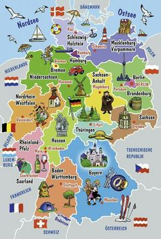The geography of Germany in German Study German, Learn German, German Grammar, German Words, German Resources, Deutsch Language, Germany Language, German Language Learning, Schmidt