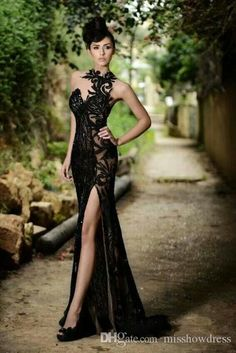 c7ec3529b9 Prom Dresses 2018 Elegant Sexy Black Sheer Jewel Neck Mermaid High Slit  Evening Gowns Plus Size Custom Made Cheap Vestidos De Festa BO7602
