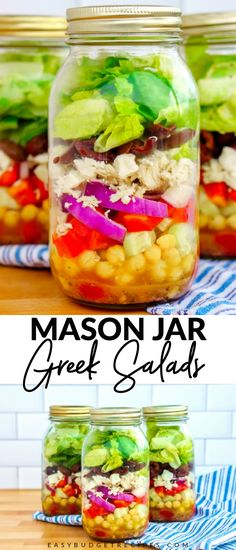 This Greek Mason Jar Salads recipe makes 6 large, filling, and nutritious salads that are healthy, low-carb, and gluten-free! Each salad costs just $1.96! Follow Easy Budget Recipes for more healthy recipes!