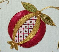 POMEGRANATE~Golden Pomegranate - silk goldwork embroidery project by Mary Corbet, originally designed by Margaret Cobleigh. Jacobean Embroidery, Silk Ribbon Embroidery, Embroidery Applique, Embroidery Stitches, Embroidery Patterns, Cross Stitches, Stitch Patterns, Broderie Simple, Bordados E Cia