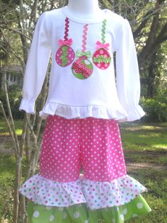 Whimsical Ornament Trio Double Ruffle Pant set by juliesonny, $47.99