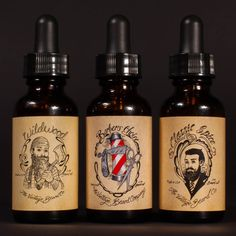 Vintage Beard Oil Trio - Barber's Choice, Wildwood, & Classic Spice