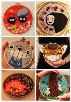 Studio Ghibli hoops.  Soot Sprites, No-Face, Totoro, Catbus, Calcifer, and Kodamas!