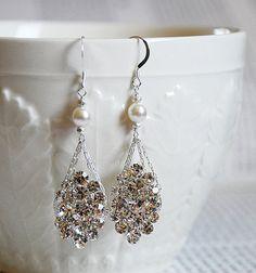 Bridal Pearl Rhinestone Earrings Wedding Jewelry Crystal MELANIA Collection ER001LX. $21.00, via Etsy.