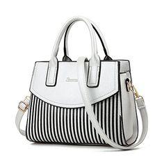 7c063cc06673 NWT Women Top Handle Bags Bowling Bag Faux Leather Stripe Satchel Shoulder  Handbags