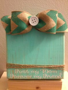 """""""Mom"""" Aqua Distressed Painted Wood Block Frame with by DefinitelyDenise, $15.00"""
