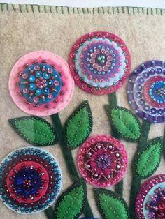 LYNN: Refuge is a felt and embroidery framed Felted Wool Crafts, Felt Crafts, Fabric Crafts, Diy Crafts, Wool Applique Patterns, Felt Applique, Wool Embroidery, Hand Embroidery Stitches, Ribbon Embroidery