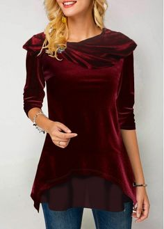 New Arrival | Liligal.com Red Fashion, Fashion Outfits, Womens Fashion, Classy Fashion, Fashion Clothes, Velvet T Shirt, Trendy Tops For Women, Stylish Tops, Casual Tops