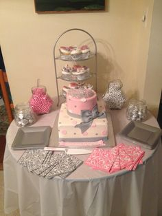 Pink Grey And White Baby Shower Cake Topped With A Tiara