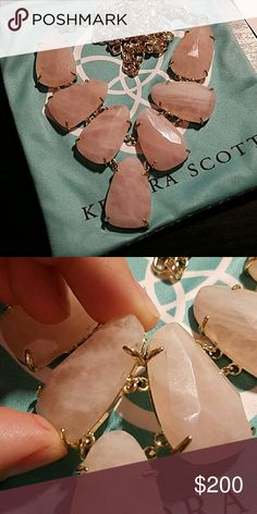 Kendra Scott Rose Quartz Harlie In awesome condition, there are a few black marks on the sides of 2 stones as seen in the 2nd pictures!  A LOT less on ???? Kendra Scott Jewelry Necklaces