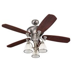 Beautiful sweeping arms reach out to hold generously shaped ripple glass shades with a soft contemporary finish. This gorgeous ceiling fan is the perfect way to keep your home cool and your decor updated.