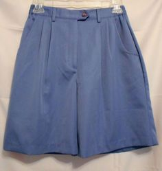 Coral Bay Golf Blue Shorts Size 6P Pleated Front Poly Pockets Belt Loops #CoralBayGolf #DressShorts