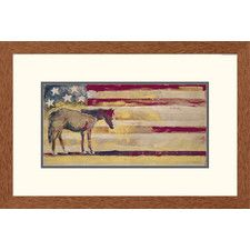 'Western Horse - Red, White and Blue' by Michael Swearngin Framed Painting Print