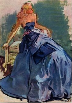 Evening gown illustrated by Pierre-Laurent Brenot, 1947
