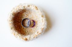 Golden Peach Bowl / Crochet Bowl / Ring Bearer by LemonCucullu
