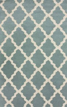 Homespun Moroccan Trellis Spa Blue Rug | Contemporary Rugs