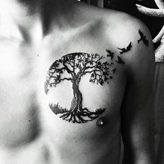 I personalised a tree of life design for tattoo number 58 #treeoflifetattoo #treetattoo #birdtattoo #blackandwhite #blacktattoos #chesttattoo #tattooapprentice #kohrongink #Cambodia #kohrong #ezcartridgecouk
