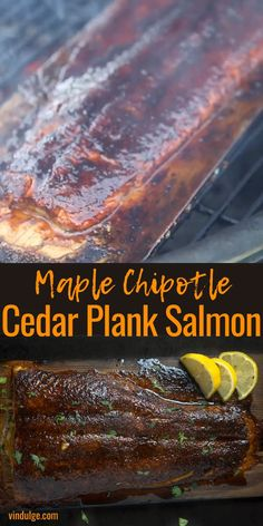 Cedar Plank Salmon is amazing when coated with a sweet and spicy chipotle dry rub, cooked on the grill giving it that smoked influence, and finished with a maple syrup glaze. This is the perfect seafood dinner for grilled food lovers! Traeger Recipes, Grilling Recipes, Fish Recipes, Seafood Recipes, Tilapia Recipes, Grilled Seafood, Grilled Fish, Grilled Salmon, Salmon Bbq