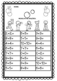 Atividade retirada da google de autoria de Olivia, uma maneira de lúdica e gostosa de trabalhar com adição.          ... Math 2, 1st Grade Math, Preschool Math, Fun Math, Teaching Math, Learning Activities, Kids Learning, School Worksheets, Kindergarten Worksheets