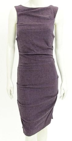 Nicole Miller Dress (Pre-owned Studio One Purple Ruched Sleeveless Dress)