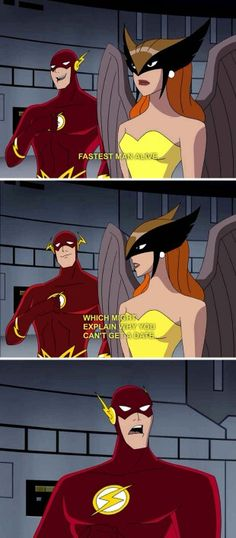 Oh snap snap snap snap snap snap snap snap snap ! Hawkgirl displays her thousand punches of sassiness to the flash