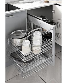 Need storage? Our two-tier blind corner pull-out baskets are perfect for the job, with smooth chrome baskets and an easy pull out function. Available today via click and collect, pick up or home delivery . Grey Doors, Can Design, Design Ideas, Kitchen Gallery, Home Reno, Diy Home Improvement, Be Perfect, Blinds, Kitchen Design