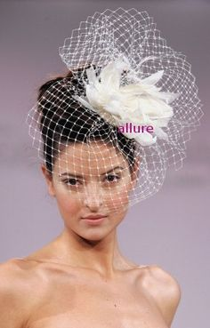 BIRDCAGE VEIL. Feather wedding flower. Fether headdress. Bridal veil. So charming fascinator, headpiece. White, ivory, cream, black by klaxonek on Etsy https://www.etsy.com/listing/96144675/birdcage-veil-feather-wedding-flower