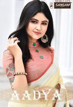 Sangam Prints Aadya Printed Linen Sarees Collection at Wholesale Rate Saree Jacket Designs, Blouse Designs High Neck, Silk Saree Blouse Designs, Fancy Blouse Designs, Bridal Blouse Designs, Neckline Designs, Kerala Saree, Designer Blouse Patterns, Fashion Patterns